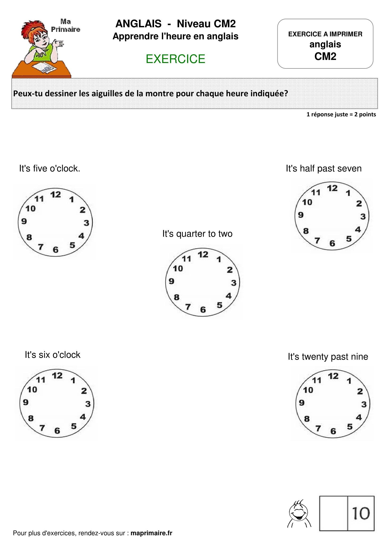 heure_en_anglais_cm2_fiche_exercice - Classe de primaire