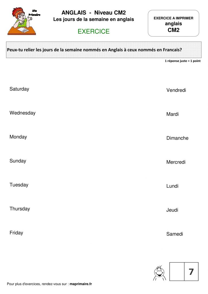 Cm2 Exercice A Imprimer Les Jours De La Semaine En Anglais Classe De Primaire