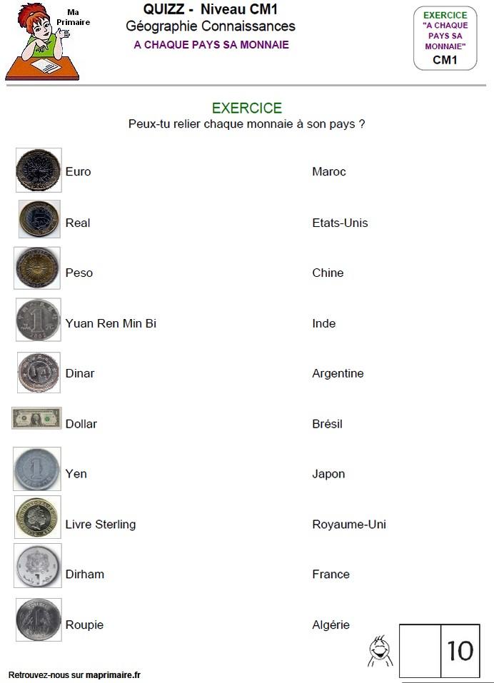 Cm1 Exercice A Imprimer A Chaque Pays Sa Monnaie Classe De Primaire